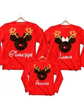 Tris T-shirt manica lunga Natale Renna Famiglia