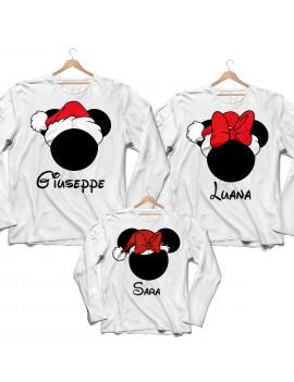 Tris T-shirt manica lunga cappello babbo Natale Famiglia