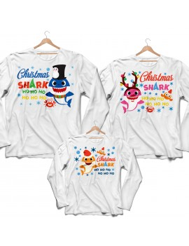 Tris T-shirt manica lunga Christmas Shark Natale