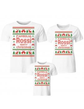 Tris T-shirt manica corta Natale Merry Christmas e nome