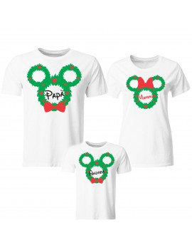 Tris T-shirt manica corta Natale ghirlanda topolino