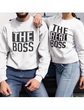 Coppia di Felpe girocollo The Boss The Real Boss Love