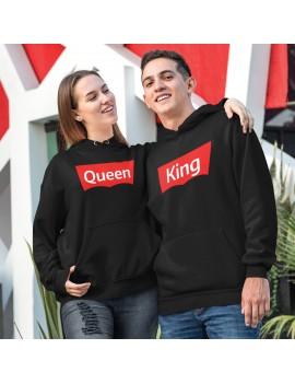 Coppia di Felpe Con cappuccio Queen King brand San Valentino