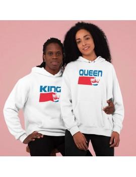 Coppia di Felpe Con cappuccio King Queen Corona brand San...