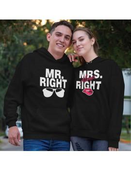 Coppia di Felpe con Cappuccio MR Right Mrs Always Right