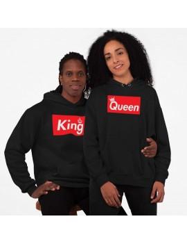 Coordinati coppia di Felpe con Cappuccio King Queen corona