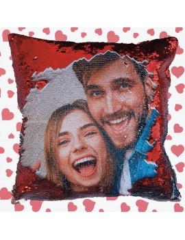Cuscino Paillettes rosse Personalizzato con foto