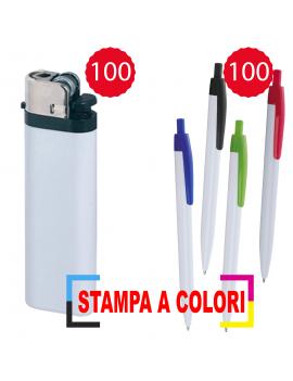 100 accendini con stampa a colori + 100 Penne con stampa...
