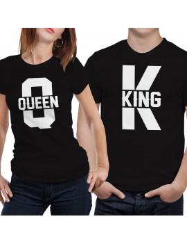 Coppia di magliette t shirt KING QUEEN idea regalo san valentino fidanzati GR374