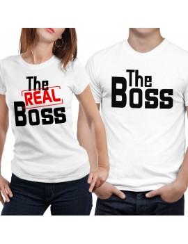 Coppia di maglia magliette t shirt THE REAL BOSS idea regalo san valentino GR375