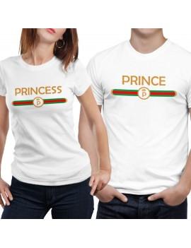 Coppia di magliette t shirt PRINCESS PRINCE idea regalo san valentino GR376