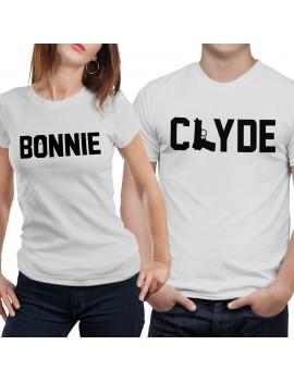 Coppia di magliette t shirt BONNIE CLYDE idea regalo san valentino amore GR378
