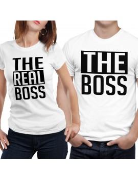Coppia di magliette t shirt THE REAL BOSS idea regalo san valentino amore GR379