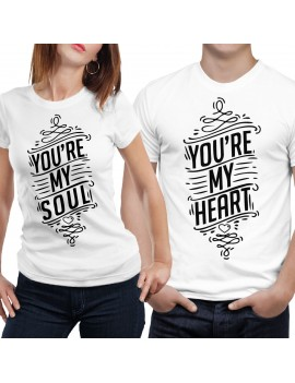 Coppia di magliette t shirt YOU'RE MY SOUL HEART idea regalo valentino GR381