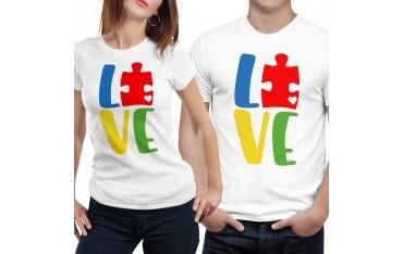 Coppia di maglia magliette t shirt LOVE lego idea regalo san valentino GR382
