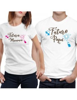 Coppia di magliette t shirt FUTURA MAMMA FUTURO PAPA idea regalo nascita GR384