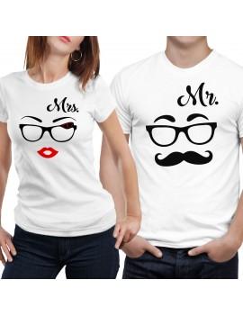 Coppia di magliette t shirt MRS MR idea regalo valentino baffi occhiali GR385