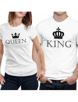 Coppia di magliette t shirt QUEEN KING idea regalo san valentino re regina GR386