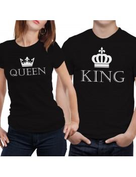 Coppia di magliette t shirt QUEEN KING idea regalo san valentino re regina GR386