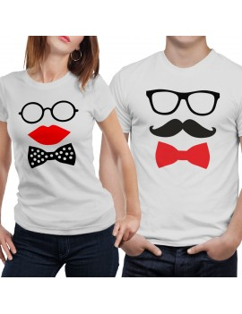 Coppia di magliette t shirt LUI LEI idea regalo baffi papillon occhiali GR387