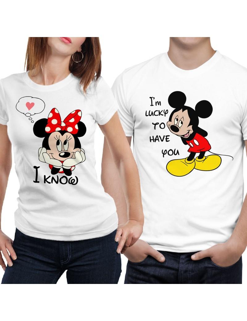 Coppia di magliette t shirt I'M LUCKY TO HAVE YOU idea regalo valentino GR383