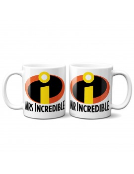 Set 2 TAZZE DI COPPIA in ceramica MR MRS INCREDIBLE idea regalo san valentino
