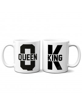 Set 2 TAZZE DI COPPIA in ceramica KING QUEEN idea regalo san valentino GR374