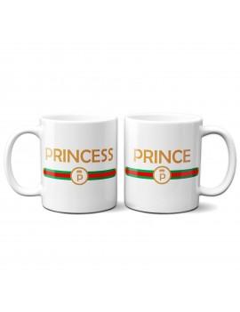 Set 2 TAZZE DI COPPIA in ceramica PRINCE PRINCESS regalo san valentino GR376