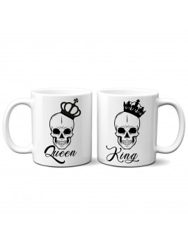 Set 2 TAZZE DI COPPIA in ceramica KING QUEEN TESCHIO regalo san valentino GR377