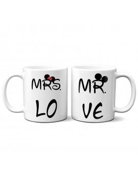 Set 2 TAZZE DI COPPIA in ceramica MR MRS TOPOLINO regalo san valentino GR380