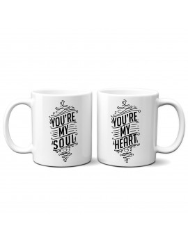 Set 2 TAZZE DI COPPIA in ceramica YOU RE MY SOUL HEART san valentino GR381