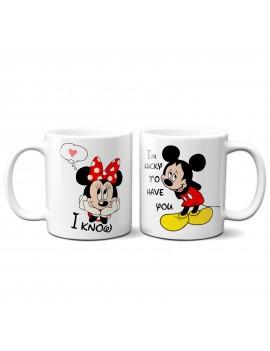 Set 2 TAZZE DI COPPIA in ceramica MINNIE TOPOLINO regalo san valentino GR383