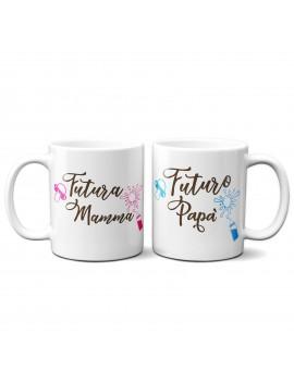 Set 2 TAZZE DI COPPIA in ceramica FUTURA MAMMA FUTURO PAPA san valentino GR384