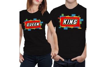 Coppia di magliette t shirt KING QUEEN LEGO regalo san valentino amore GR388