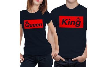 Coppia di magliette t shirt KING QUEEN BRAND idea regalo san valentino GR390