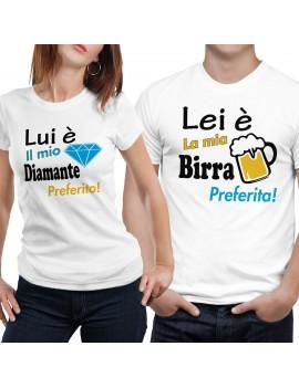 Coppia di magliette t shirt LUI LEI BIRRA DIAMANTE regalo san valentino GR393