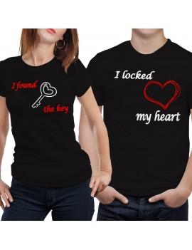 Coppia di magliette t shirt CHIAVE CUORE APRE idea regalo san valentino GR394