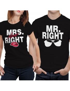Coppia di magliette t shirt MRS MR OCCHIALI BAFFI regalo san valentino GR395