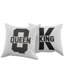 Set Coppia 2 Cuscini Cuscino KING QUEEN idea regalo san valentino amore GR374