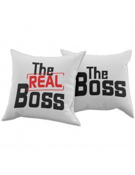 Set Coppia 2 Cuscini Cuscino THE REAL BOSS idea regalo san valentino amore GR375