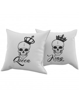 Set Coppia 2 Cuscini Cuscino KING QUEEN TESCHIO regalo san valentino amore GR377