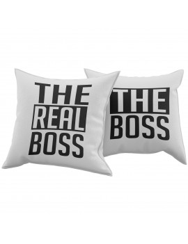 Set Coppia 2 Cuscini Cuscino THE REAL BOSS idea regalo san valentino amore GR379