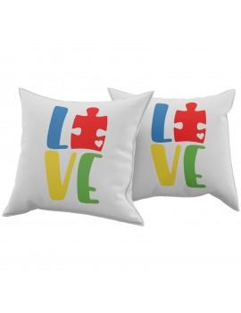 Set Coppia 2 Cuscini Cuscino LOVE PUZZLE idea regalo san valentino amore GR382