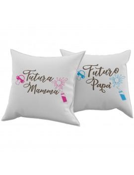 Set Coppia 2 Cuscini Cuscino FUTURA MAMMA FUTURO PAPA regalo san valentino GR384