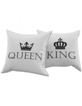 Set Coppia 2 Cuscini Cuscino KING QUEEN idea regalo san valentino amore GR386