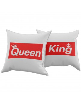Set Coppia 2 Cuscini Cuscino KING QUEEN BRAND idea regalo san valentino GR390