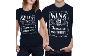 Coppia di magliette t shirt KING QUEEN JACK BRAND regalo san valentino GR401