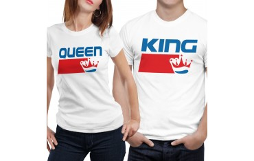 Coppia di magliette t shirt KING QUEEN COLA BRAND regalo san valentino GR402