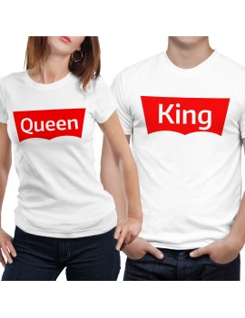 Coppia di magliette t shirt KING QUEEN BRAND idea regalo san valentino GR403