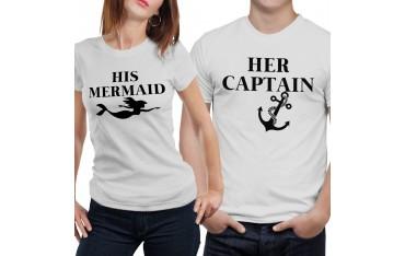Coppia di magliette t shirt SIRENA CAPITANO idea regalo san valentino GR405